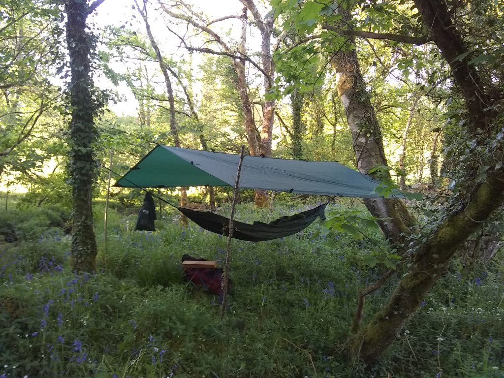 Hammock and Basha set up- one of our accomodation options down by the River Lynher